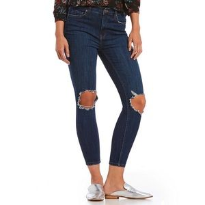 Free People Busted Skinny Jeans Dark Blue